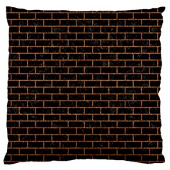 Brick1 Black Marble & Rusted Metal (r) Large Flano Cushion Case (two Sides) by trendistuff