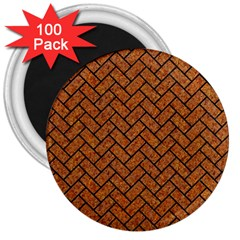 Brick2 Black Marble & Rusted Metal 3  Magnets (100 Pack) by trendistuff