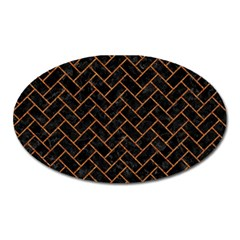 Brick2 Black Marble & Rusted Metal (r) Oval Magnet by trendistuff