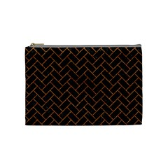Brick2 Black Marble & Rusted Metal (r) Cosmetic Bag (medium)  by trendistuff