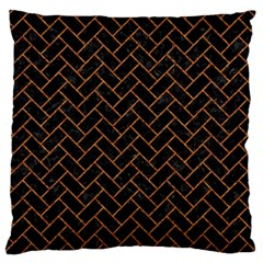 Brick2 Black Marble & Rusted Metal (r) Large Flano Cushion Case (two Sides) by trendistuff