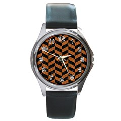 Chevron1 Black Marble & Rusted Metal Round Metal Watch by trendistuff