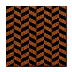Chevron1 Black Marble & Rusted Metal Tile Coasters by trendistuff