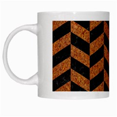 Chevron1 Black Marble & Rusted Metal White Mugs by trendistuff