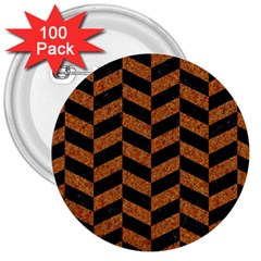 Chevron1 Black Marble & Rusted Metal 3  Buttons (100 Pack)  by trendistuff