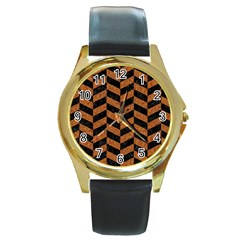 Chevron1 Black Marble & Rusted Metal Round Gold Metal Watch by trendistuff