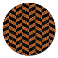Chevron1 Black Marble & Rusted Metal Magnet 5  (round) by trendistuff