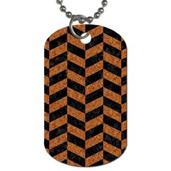 Chevron1 Black Marble & Rusted Metal Dog Tag (one Side) by trendistuff