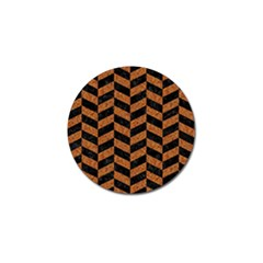Chevron1 Black Marble & Rusted Metal Golf Ball Marker by trendistuff