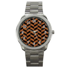 Chevron1 Black Marble & Rusted Metal Sport Metal Watch by trendistuff