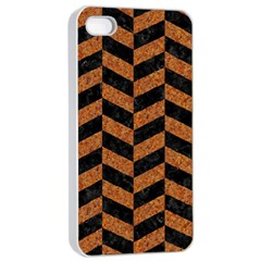 Chevron1 Black Marble & Rusted Metal Apple Iphone 4/4s Seamless Case (white) by trendistuff