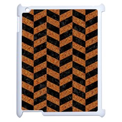 Chevron1 Black Marble & Rusted Metal Apple Ipad 2 Case (white) by trendistuff