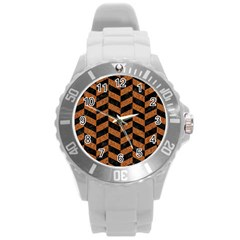 Chevron1 Black Marble & Rusted Metal Round Plastic Sport Watch (l) by trendistuff