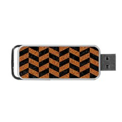 Chevron1 Black Marble & Rusted Metal Portable Usb Flash (one Side) by trendistuff