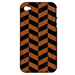 Chevron1 Black Marble & Rusted Metal Apple Iphone 4/4s Hardshell Case (pc+silicone) by trendistuff