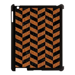 Chevron1 Black Marble & Rusted Metal Apple Ipad 3/4 Case (black)