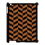 CHEVRON1 BLACK MARBLE & RUSTED METAL Apple iPad 3/4 Case (Black) Front