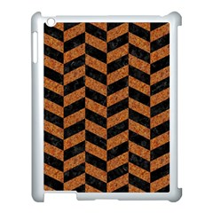 Chevron1 Black Marble & Rusted Metal Apple Ipad 3/4 Case (white) by trendistuff