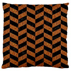 Chevron1 Black Marble & Rusted Metal Large Flano Cushion Case (two Sides) by trendistuff