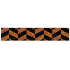 Chevron1 Black Marble & Rusted Metal Flano Scarf (large) by trendistuff