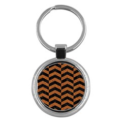Chevron2 Black Marble & Rusted Metal Key Chains (round)  by trendistuff