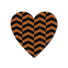 Chevron2 Black Marble & Rusted Metal Heart Magnet by trendistuff
