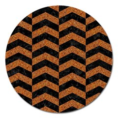 Chevron2 Black Marble & Rusted Metal Magnet 5  (round) by trendistuff
