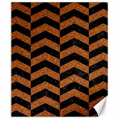 Chevron2 Black Marble & Rusted Metal Canvas 8  X 10