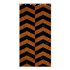 Chevron2 Black Marble & Rusted Metal Shower Curtain 36  X 72  (stall)  by trendistuff