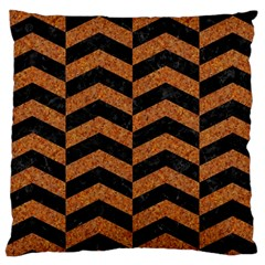 Chevron2 Black Marble & Rusted Metal Large Cushion Case (two Sides) by trendistuff