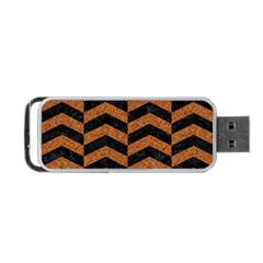 Chevron2 Black Marble & Rusted Metal Portable Usb Flash (one Side) by trendistuff