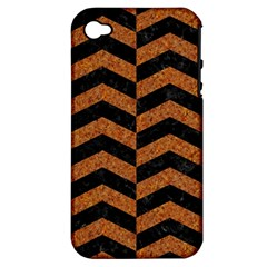 Chevron2 Black Marble & Rusted Metal Apple Iphone 4/4s Hardshell Case (pc+silicone) by trendistuff