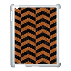 Chevron2 Black Marble & Rusted Metal Apple Ipad 3/4 Case (white) by trendistuff