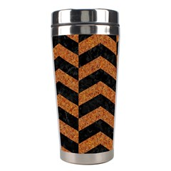 Chevron2 Black Marble & Rusted Metal Stainless Steel Travel Tumblers by trendistuff