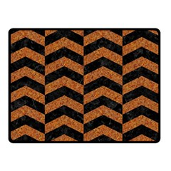 Chevron2 Black Marble & Rusted Metal Double Sided Fleece Blanket (small)  by trendistuff