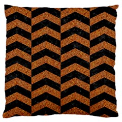Chevron2 Black Marble & Rusted Metal Large Flano Cushion Case (two Sides) by trendistuff