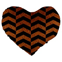 Chevron2 Black Marble & Rusted Metal Large 19  Premium Flano Heart Shape Cushions by trendistuff