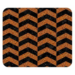 Chevron2 Black Marble & Rusted Metal Double Sided Flano Blanket (small)  by trendistuff