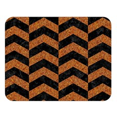 Chevron2 Black Marble & Rusted Metal Double Sided Flano Blanket (large)  by trendistuff