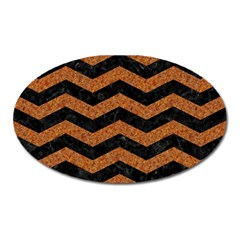 Chevron3 Black Marble & Rusted Metal Oval Magnet by trendistuff