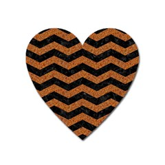 Chevron3 Black Marble & Rusted Metal Heart Magnet by trendistuff