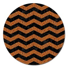 Chevron3 Black Marble & Rusted Metal Magnet 5  (round) by trendistuff