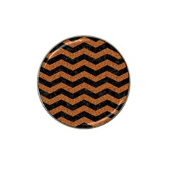 Chevron3 Black Marble & Rusted Metal Hat Clip Ball Marker by trendistuff