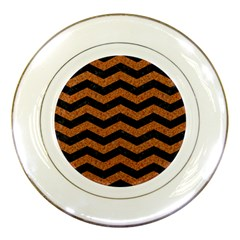Chevron3 Black Marble & Rusted Metal Porcelain Plates by trendistuff