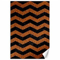 Chevron3 Black Marble & Rusted Metal Canvas 20  X 30   by trendistuff