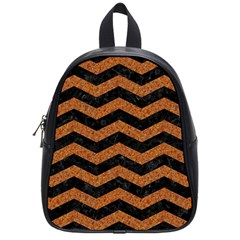 Chevron3 Black Marble & Rusted Metal School Bag (small) by trendistuff