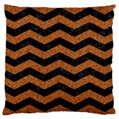 Chevron3 Black Marble & Rusted Metal Large Cushion Case (one Side) by trendistuff