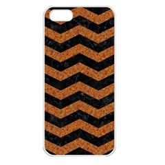 Chevron3 Black Marble & Rusted Metal Apple Iphone 5 Seamless Case (white) by trendistuff