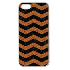 Chevron3 Black Marble & Rusted Metal Apple Seamless Iphone 5 Case (clear) by trendistuff