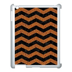 Chevron3 Black Marble & Rusted Metal Apple Ipad 3/4 Case (white) by trendistuff